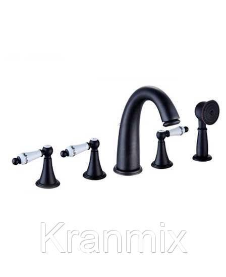Смеситель для ванны врезной чёрный душевая стойка Aquaroom кран в раковину для умывальника