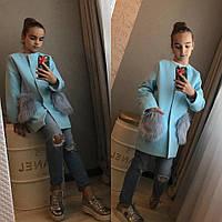 Стильное детское пальто с меховыми карманами , фото 1