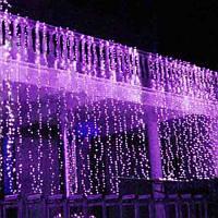 Гирлянда штора\занавес 320 LED, 3х2 м розовый