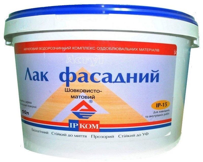 Лак акриловый ІРКОМ ФАСАДНИЙ ІР-15 полуматовый 10л