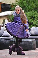 Стильная зимняя детская куртка с поясом
