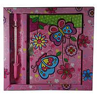 Блокнот с замком для девочек розовый (2 ключа, ручка)(19х18х1,5 см)