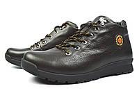 Полу-спортивные темно-коричневые зимние мужские кожаные ботинки GENUINE SHOES на меху ( шерсть )