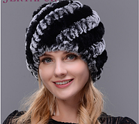 Жіноча хутряна шапка з кролика рекс, фото 1