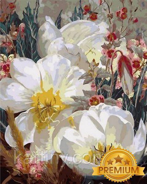 Картины по номерам 40×50 см. Babylon Premium (цветной холст + лак) Белоснежные кувшинки Художник Элизабет Хорнинг