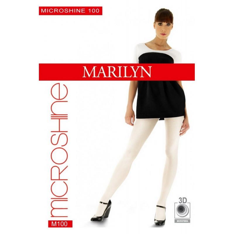 Гладкі щільні колготи молочні MARILYN MICROSHINE 100