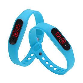 Часы LED Watch Soft Braslet A-02 силиконовый ремешок, Голубые