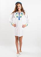 Нарядное этническое,  народное  вышитое  платье  для девочки ВОЛОШКОВІ МРІЇ 2  размеры  140, 146, 152, 158