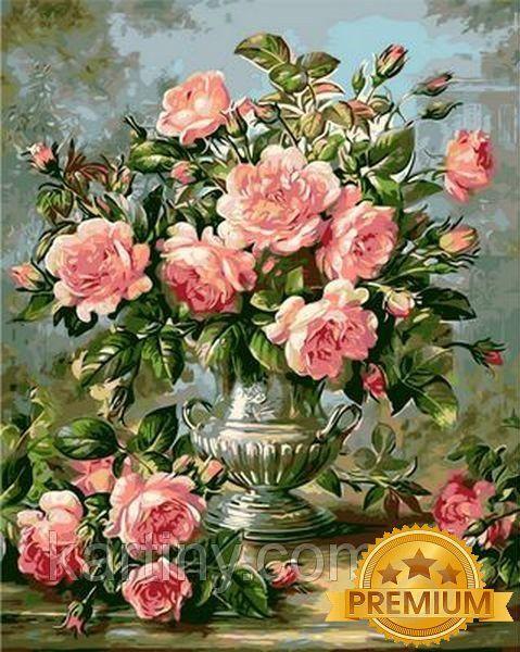 Картины по номерам 40×50 см. Babylon Premium (цветной холст + лак) Розы в серебряной вазе Художник Уильямс Альберт