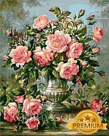 Картины по номерам 40×50 см. Babylon Premium (цветной холст + лак) Розы в серебряной вазе Художник Уильямс Альберт , фото 1