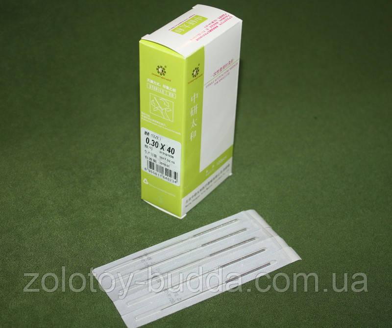 Голки для акупунктури, рефлексотерапії 0,30*40 мм 100 голок. Zhongyan Taihe.