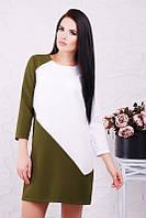 Комбинированное оливковое платье