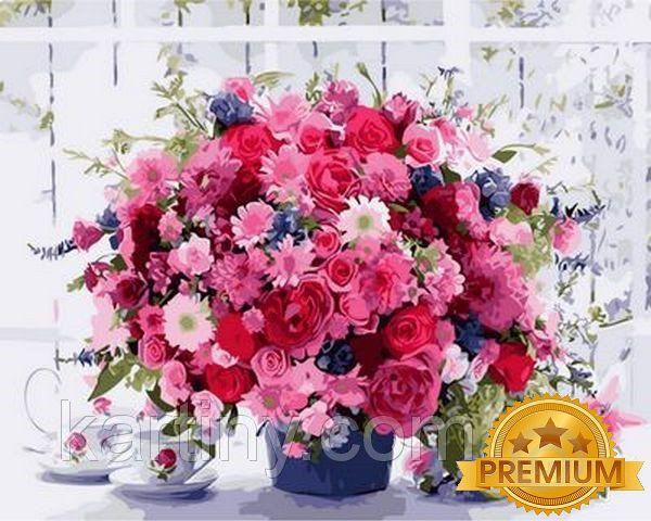 Картина по номерам 40×50 см. Babylon Premium Розовые хризантемы