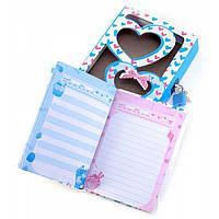 Блокнот с замком для девочек синий (2 ключа) (16,5х13х3 см)