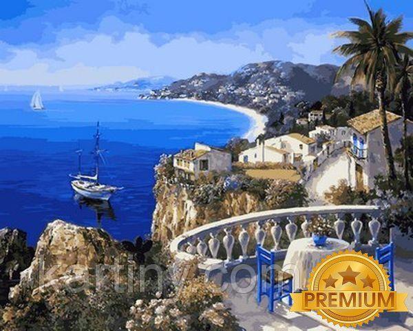 Картины по номерам 40×50 см. Babylon Premium (цветной холст + лак) Ницца Франция - Жемчужина лазурного берега