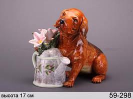 Статуэтка Собака с лейкой 17 см керамика