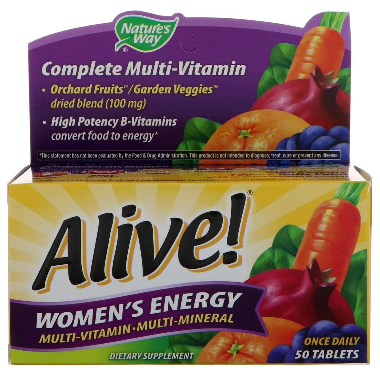 Nature's Way, Alive! Women's Energy мультивитамины + минералы+ экстракты для женщин, 50 таблеток