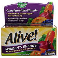 Nature's Way, Alive! Women's Energy мультивитамины + минералы+ экстракты для женщин 50 шт 1 шт в день