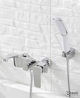 Смеситель для ванной в душ хромированый Aquaroom кран в раковину для умывальника