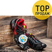 Мужские кроссовки Salomon Speedcross 3, черные с красным / кроссовки мужские Саломон, с резинками, удобные