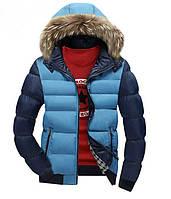 Стильная комбо куртка тёплая с капюшоном
