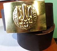 Солдатские ремни кожаные с пряжкой латунной