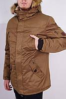 Зимняя мужская куртка с мехом коричневая