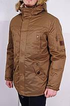 Зимняя мужская куртка с мехом коричневая, фото 2