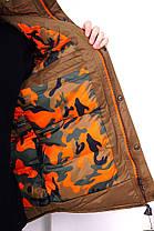 Зимняя мужская куртка с мехом коричневая, фото 3