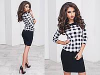 Женский стильный комплект юбка + блузка с принтом