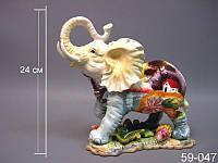 Статуэтка Слон 24 см керамика 59-047