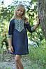 Вышитое платье для девочки до колен с рукавом 3/4 в синем цвете (ДП18-295)