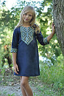Вышитое платье для девочки до колен с рукавом 3/4 в синем цвете (ДП18-295), фото 1