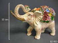 Статуэтка Слон с цветами 32 см фарфор 92-003