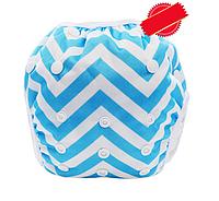 Непромокаемые плавки-подгузники для малышей Голубой Зиг-заг (11262), фото 1