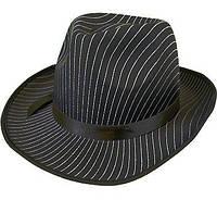 Шляпа гангстера черная в полоску