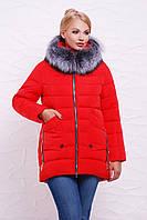 Красная Женская куртка с натуральным мехом чернобурки большой размер 48,50, 52,54,56,58,60