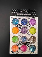 Набор конфетти для дизайна ногтей шестигранник маленький 12 шт разных цветов
