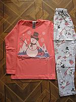 Детские пижамки  для мальчиков и девочек Снеговичок  трикотаж -интерлок 4-6 Турция
