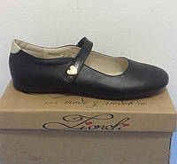 a96b23ef3 Туфли для девочки LEVUS черные с золотистым задником и сердечком р.36