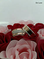 Кольцо серебряное с золотыми накладками Обручалка с цирконами