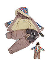 Комбинезон на овчине 653 комплект куртка + полукомбинизон размеры 92(98), фото 1