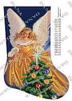 """Схема для вышивания бисером Новогодний сапожок """"Рождественский Ангел"""" 3181ч"""
