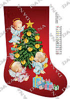 """Схема для вышивания бисером Новогодний сапожок """"Новогодние ангелы"""" 3182ч"""