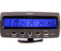Автомобільні годинник термометр, вольтметр VST 7045V 12/24 V будильник/ прикурка-батарейка, фото 1