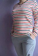 Блуза хлопковая трикотажная  полоски на светлом