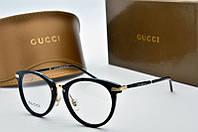 Оправа круглая Gucci черная с золотом, фото 1