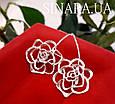 Серьги Розы серебро - Серебряные серьги Роза, фото 2