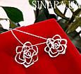 Серьги Розы серебро - Серебряные серьги Роза, фото 6