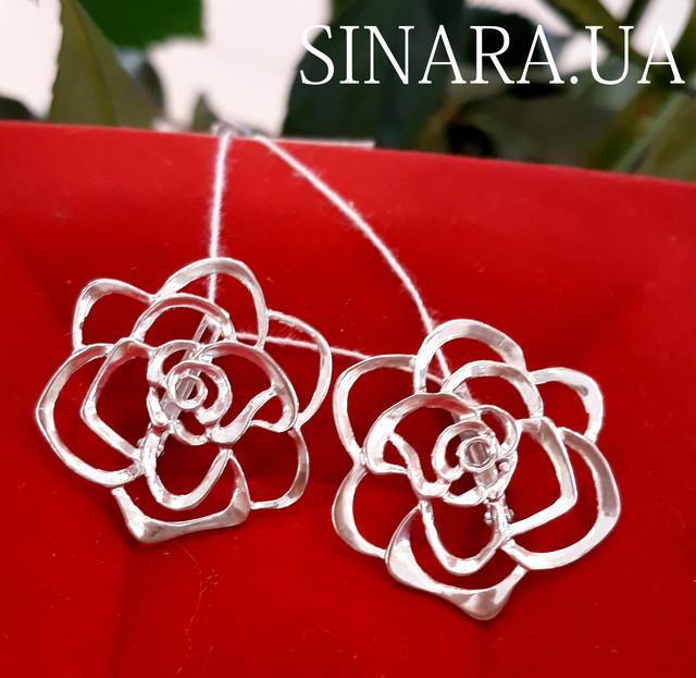 Серьги Розы серебро - Серебряные серьги Роза фото